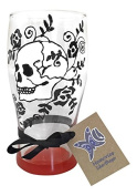 Skeleton With Roses Hand Painted Pint Glass, Cool Skull Gift, Unique Rock And Roll Gift Orange Base