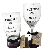 Parents of the Groom Gift, I Survived My Son's wedding Hand Painted Glass Set, Wine Glass and Pint Glass Included