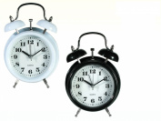 Plastic alarm clock, Silent running with quartz analogue,Double bell alarm clock, Super Lound Alarm, Battery operated. Choice Of 2 Colours Black, White, Ideal for heavy sleepers. Perfect boxed Gift.