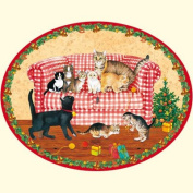 Coppenrath Kitty Christmas very large flat Oval Traditional German Advent Calendar 55cm wide x 40cm
