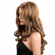 sexy long wave curl Brown red womens wigs