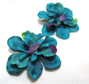 Pair of Teal Blue Green Hair Flower Clips