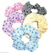 Honeycomb Print Fabric Hair Scrunchies Set of 5 Ponytail Holders Pink Purple Blue Yellow Black made by Scrunchies by Sherry