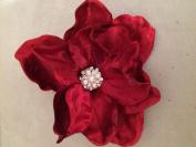 Velvet Jewelled Magnolia Artificial Flower Hair Clip/Pin Brooch
