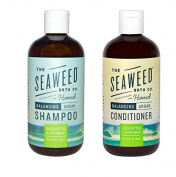 Seaweed Bath Co Balancing Eucalyptus Plant and Peppermint Organic Natural Shampoo and Conditioner Bundle With Argan Oil, Sustainable Bladderwrack Seaweed, Aloe Vera & Essential Oils, 350ml each
