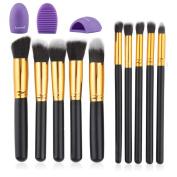Huewind 10pcs Premium Synthetic Kabuki Makeup Brush Set Cosmetics Foundation Blending Blush Eyeliner Face Powder Brush Makeup Brush Kit