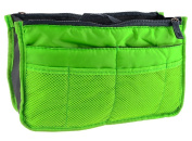 LEFV™ Purse Perfector Insert Organiser Nappy Bag Expandable 13 Pockets Compartments Handbag Liner Travel Smart Cosmetic Gadget Hand Pouch Organiser with Handles Green