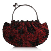 Floral Beaded Top Handel Kissing Lock Evening Party Womens Frame Clutch Purse Wallet Handbag