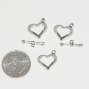 5 Sets x Heart Love Toggle Clasp Connector Beads 16x15mm Antique Silver Tone for Charms Bracelet Necklace Jewellery findings #MCZ476