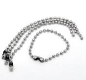 vanki 100PCs Silver Tone Connector Clasp Ball Chains Keychain Tag 10cm