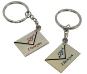 vanki Lovers Keychain Love You Key Ring, Square I Love You