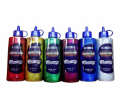 6 Colour Glitter Glue Set (120 ml Bottles) Classic Colours - Green, Gold, Red, Silver, Blue, and Purple