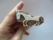 INDIAN WOOD STAMPS HAND CARVED FABRIC DECORATING BLOCK PRINT DESIGN SMALL HORSE