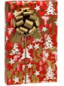 GOLD STARS & CHRISTMAS TREES Holiday Gift Wrap Paper - 4.9m Roll