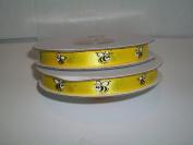 Yellow Bee Satin Ribbon Printed 1cm x 25 Yards