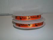 Orange Satin Ribbon Happy Halloween Printed 1cm x 25 Yards / Printed Halloween Ribbon
