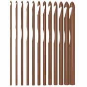 YazyCraft Wooden Bamboo Crochet Hooks set of 12 (3.0-10mm).