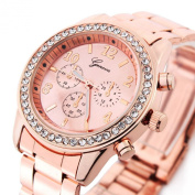 Bling Jewellery Geneva Rose Gold Plated Classic Round CZ Ladies Watch