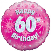 Oaktree 46cm Happy 60th Birthday Pink Holographic Balloon (One Size)