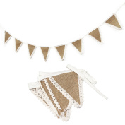 AllHeartDesires 1.8m Burlap Hessian Ivory Lace Trims Bunting Rustic Wedding Banner Garland Birthday Party Hanging Decoration