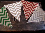 Quasimoon Burlap w/ Multi-Colour Chevron Pattern Triangle Flag Pennant Banner (3.7m) by PaperLanternStore