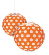 Orange Polka Dot Paper Lantern - 30cm - Set of 2