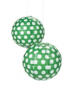 Green Polka Dot Paper Lantern - 30cm - Set of 2