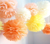 HEARTFEEL 8PCS Mixed Sizes 4 Colours Tissue Flower Pom Poms Pompoms Wedding Party Garland Bridal Shower Birthday Home Decoration
