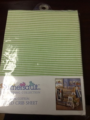 Sumersault TOY CHEST TC08 100% Cotton Fitted Crib Sheet in LIGHT GREEN STRIPE