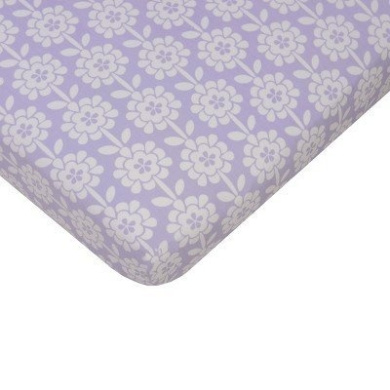Sumersault Mix & Match Collection Floral 100% Cotton Fitted Crib Sheet in Purple