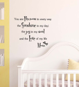 You are PRECIOUS in every way the Sunshine in my day the Joy in my Soul Love cute Wall Vinyl Decal Quote lettering Art Saying Sticker stencil nursery wall decor