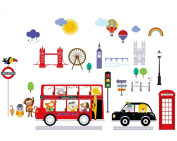 Bus to London Baby/Nursery Wall Sticker Decals for Boys and Girls
