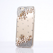 iPhone 6S Case, Sense-TE Luxurious Crystal 3D Handmade Sparkle Glitter Diamond Rhinestone Ultra-Thin Clear Cover with Retro Bowknot Anti Dust Plug - Flowers