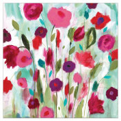 Kate and Laurel Happy Garden 90cm x 90cm Multicoloured Hand Painted Canvas Wall Art
