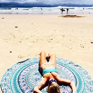 RawyalCrafts- Green Peacock Indian Mandala Round Roundie Beach Throw Tapestry Hippy Boho Gypsy Cotton Tablecloth Beach Towel