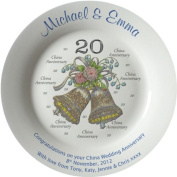 Personalised China Wedding Anniversary Plate with plain rim - Bells + 20 design