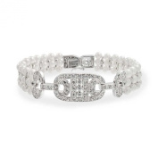 Bling Jewellery Simulated Pearl 3mm CZ Bridal Bracelet Rhodium Plated 6.75in