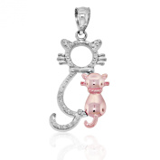Gold Sitting Cats Charm, 10k Solid White and Rose Gold