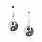 Sterling Silver Yin and Yang Dog Paw Print Dangle Earrings
