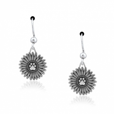 Sterling Silver Flower with Dog Paw Print Dangle Earrings