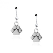 Sterling Silver Simple Dog Paw Print Dangle Earrings