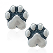 Sterling Silver Natural Dog Paw Print with Heart Pad Post Earrings
