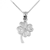 925 Sterling Silver Irish Lucky Charm Four-Leaf Clover Pendant Necklace