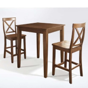 Crosley 3-Piece Pub Dining Set with Tapered Leg and X-Back Stools, Classic Cherry Finish
