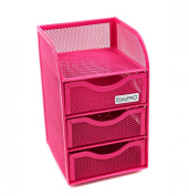 EasyPAG Mesh Desk Organiser 3 Drawer Mini Hutch Office Supply Caddy , Pink