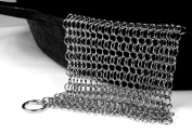 Qlty First Cast Iron Cleaner - Made of XL 7x 7/ 20cm x 15cm Premium Stainless Steel Chainmail Scrubber, Includes a hook and a Dish Drying Cloth