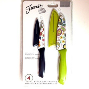 Fiesta 4 Piece Decorative Non-stick Coated Knife Set, Green and Black