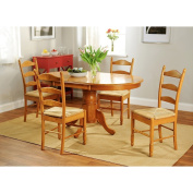 Simple Living Oak Finish 5-piece Ladderback Dining Set Farmhouse Table Leaf Extension and Four Chairs