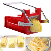 Stainless Potato Chipper French Fries Slicer Chip Cutter Maker Chopper 2 Blades Red