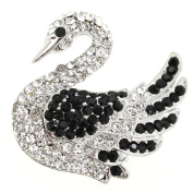 Black White Swan Brooch